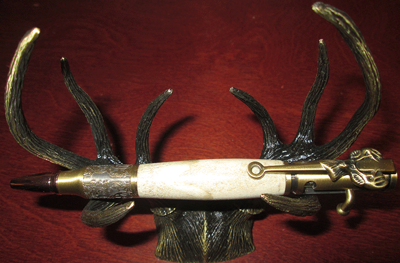 30 Caliber and Deer Antler Twist Pen